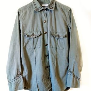 Equipment Olive Green Pocket Button Up Shirt